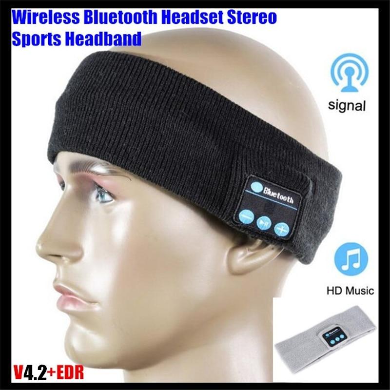 Unisexe Sans Fil Bluetooth V4.2 Tricoté Casque Stéréo Casque Main-livraison Musique Magique Sport Smart Bandeaux Cap Mp3 Haut-Parleur Mic