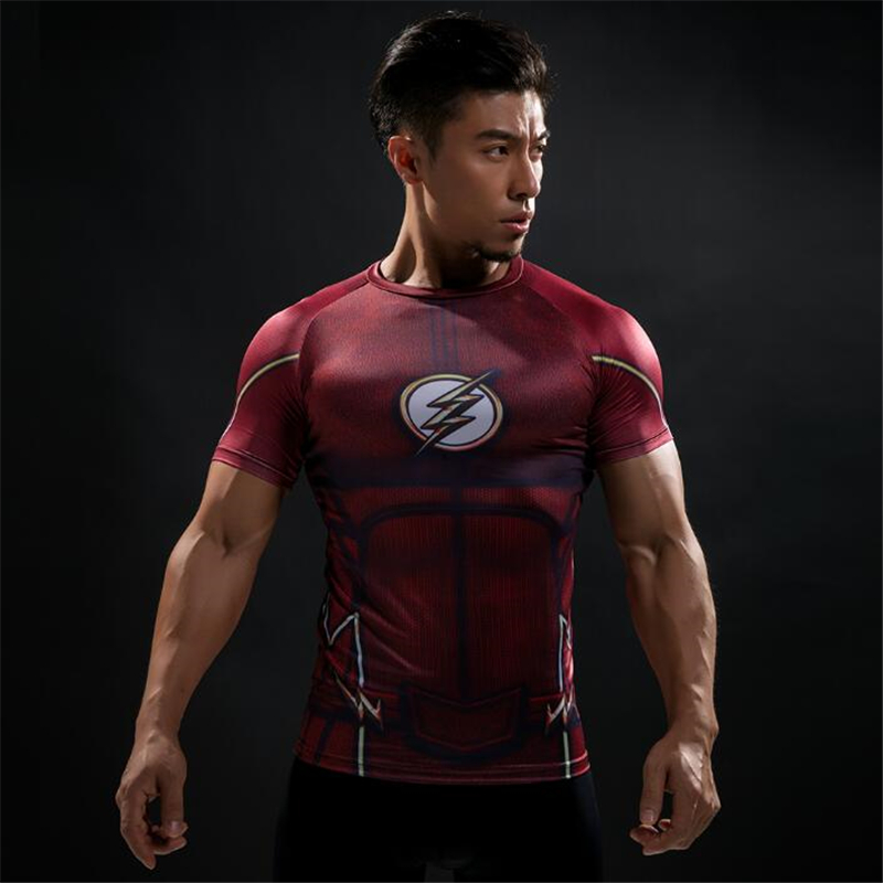 TUNSECHY Brand Summer Short Sleeve 3D T Shirt Men T-Shirt Superman Quick Drying Fitness Compression Shirt Free Transportation