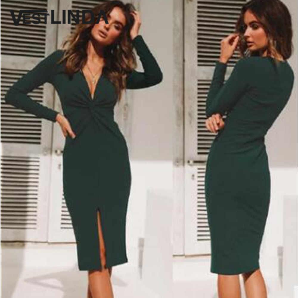 933b3b3248 VESTLINDA Plunging Neck Front Slit Long Sleeve Twist Bodycon Dress Elegant  Autumn Vestidos Mujer 2018 Solid