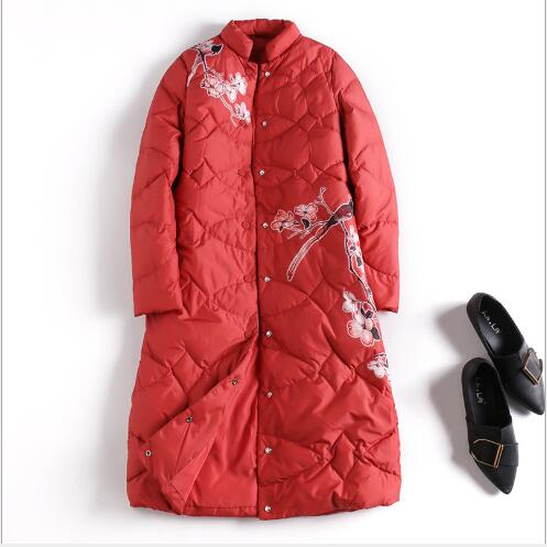 Canard Section Red white Neige Parka Slim Le Manteau D'hiver 2018 breasted Mode Bas Longue Impression Single Vers Veste Femmes De Nouvelle Dames Fit Blanc BqR0OwBg