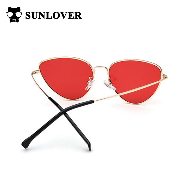 f59c1b45d8d9d gold metal Cat Eye Sunglasses with tinted Color Lens women cateye shaped sun  glasses 2017 eyewear 70s luxe red female sunglasses-in Sunglasses from  Apparel ...