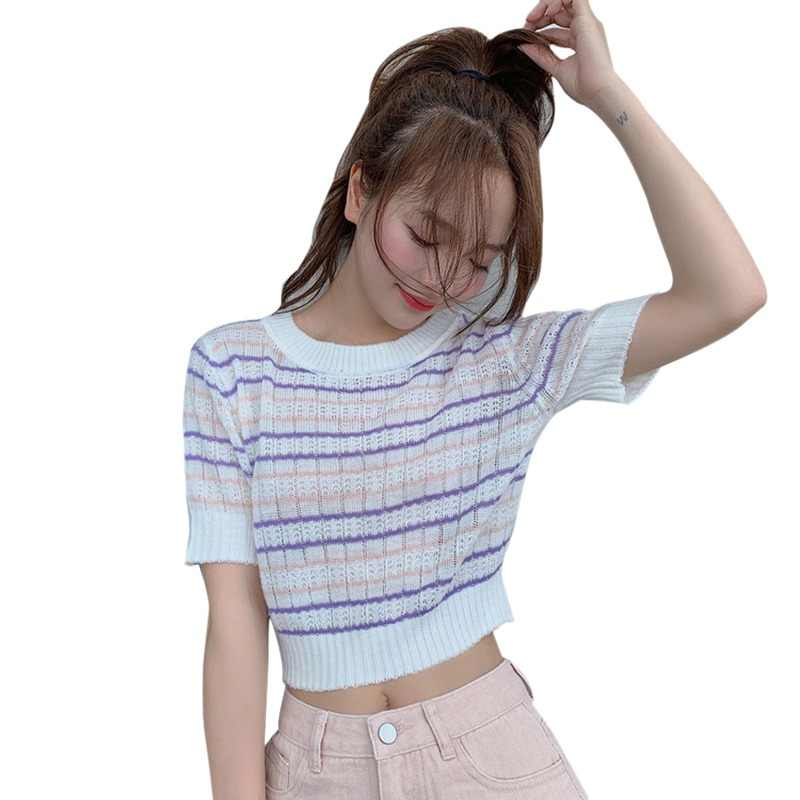 2019 Sexy Top frauen Koreanischen Stil Casual O Neck Striped Kurzarm Schlank Crop Top Gestrickte T-Shirt Frauen t-shirt verano mujer