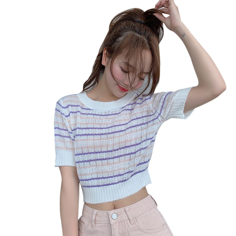 2019 <font><b>Sexy</b></font> Top Women's Korean Style Casual O Neck Striped Short Sleeve Slim Crop Top Knitted T-Shirt Women <font><b>camisetas</b></font> <font><b>verano</b></font> <font><b>mujer</b></font> image