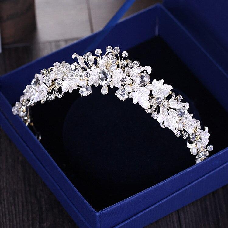 Барокко винтажные золотые стразы жемчужные цветы Свадебные короны тиара ручной работы повязка на голову с кристаллами диадема Корона Свад...