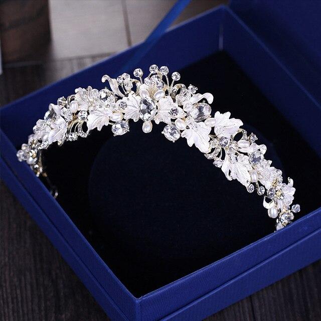 Baroque vintage vàng rhinestone ngọc trai flower bridal crowns handmade tiara headband pha lê diadem thái phụ kiện tóc cưới