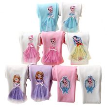 2019 Cute Girl Elsa Anna Cartoon Trousers Kids Anime Leggings Colorful Long Pants 3D Princess Doll Children Clothing