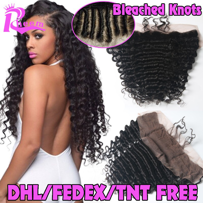 7A Cheap Brazilian Deep Wave Lace Frontal Closure Bleached Knots 13X4 Human Hair Closure With Baby Hair Free Middle <font><b>3</b></font> Part Lace