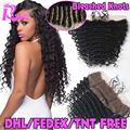 7A Cheap Brazilian Deep Wave Lace Frontal Closure Bleached Knots 13X4 Human Hair Closure With Baby Hair Free Middle 3 Part Lace