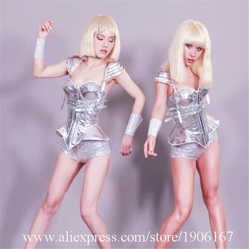 Nouveau Design défilé personnalité thème argent miroir vêtements futuriste argent peau de serpent discothèque DS Costumes tenue de fête