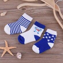 3 pairs/pack Spring Autumn Cartoon Baby Cotton Socks for Boys Girls Kids Jacquard Hosiery Breathable Antibacterial Socks 0-3T