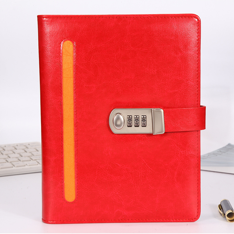 A5 Red Cover Writing PU Faux Leather Notebook Spiral Notebook Smart Reusable Erasable Journal Notepad Planner With Metal Lock a5 red cover writing pu faux leather notebook spiral notebook smart reusable erasable journal notepad planner with metal lock