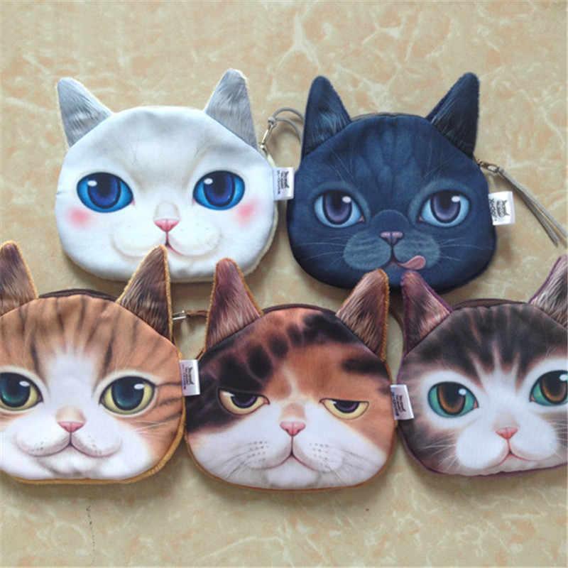 Pequeno Animal Bonito Dos Desenhos Animados Coin Bolsas 3D Cabeça Gato Sacos de Moedas Bolsa de Bolso Da Moeda Da Carteira Chave Titular de Cartão de Dinheiro Bolsa de Moeda
