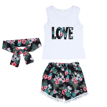 3PCS Summer Baby Girl Top LOVE Pattern Vest and Floral Tassel Pant and Headband Clothing Set Baby Girl Clothes
