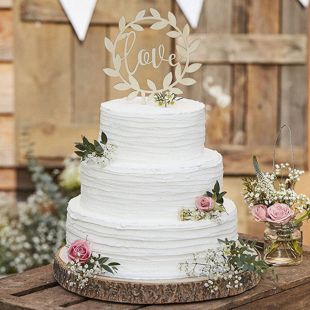 Rustic Country Wedding Decoration Wooden Love and Vine Wedding Cake     Rustic Country Wedding Decoration Wooden Love and Vine Wedding Cake Topper  Circle Decoration for Cake Decorating