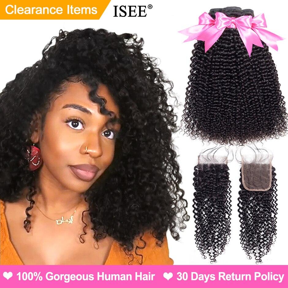 Rizado paquetes con cierre veo extensiones de cabello 3 paquetes con cierre Remy mongol rizado pelo humano paquetes con cierre