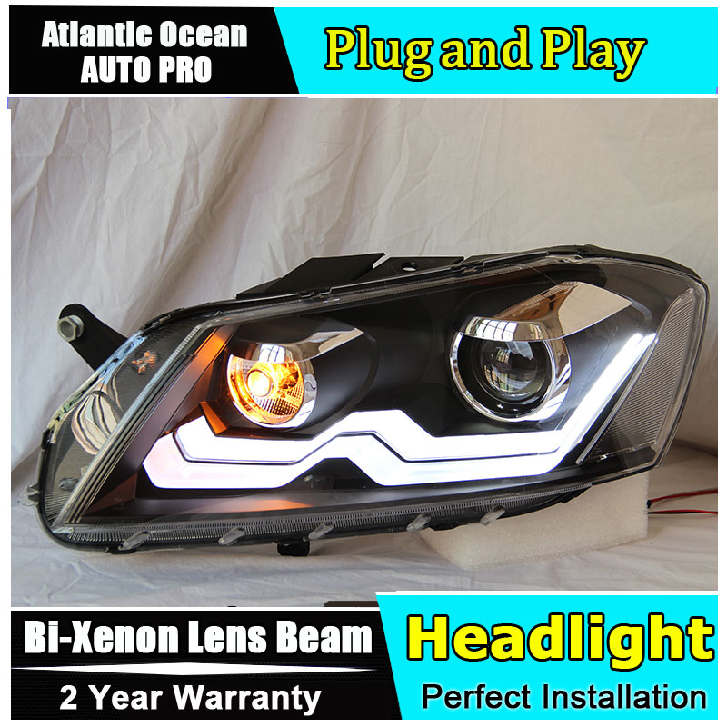 Car Styling Head Lamp for VW Passat B7 led headlights 2011-2014 Europe Version Passat drl HID KIT Bi-Xenon Lens low beam akd car styling for kia k2 rio headlights 2011 2014 korea design k2 led headlight led drl bi xenon lens high low beam parking