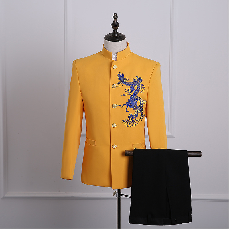 2018 Men's Yellow Dragon Embroidery Pattern Chinese tunic suit Wedding Party Groomsman Two Piece Suit Costumes S 2XL