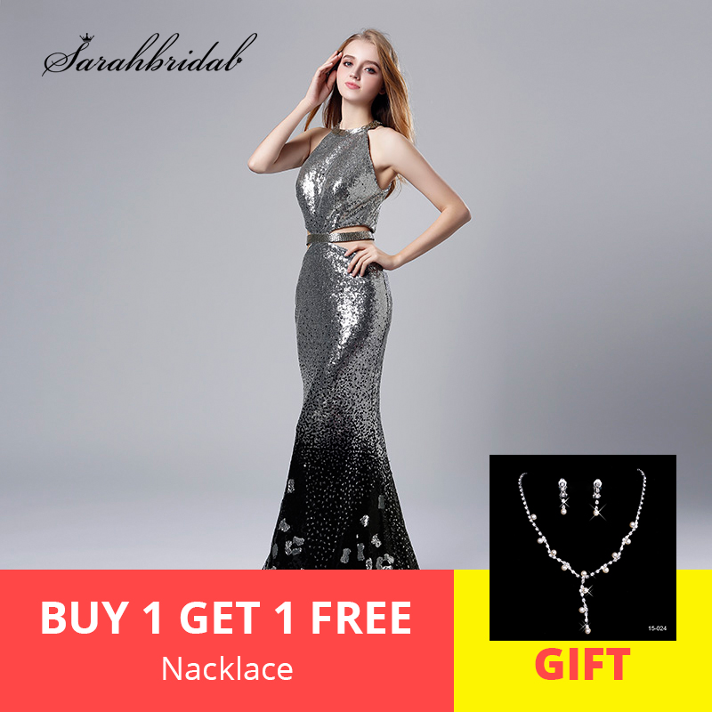 Sexy Sequin 2019 New Arrivals Silver Mermaid Evening Dresses Backless Open Back Prom Gowns Real Photos Robe De Soiree LSX536