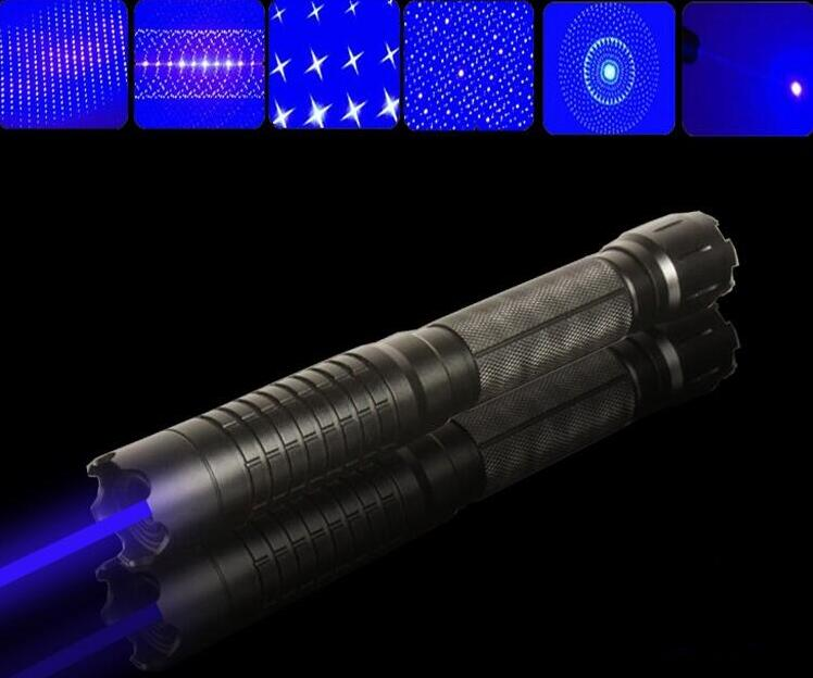 High powered Blue Laser pointer 5000000m 450nm Flashlight Burning match/paper/dry wood/candle/black/Burn Cigarettes+5 caps blue laser pointer high power laser pen 450nm burn match cigarettes candle with 5 star caps for hunting metal box