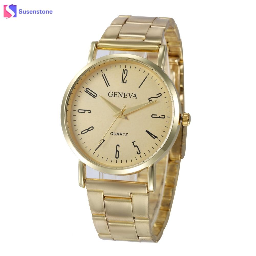 Fashion Geneva Watch Women Gold Stainless Steel Analog Quartz Watch Simple Style Womens Wrist