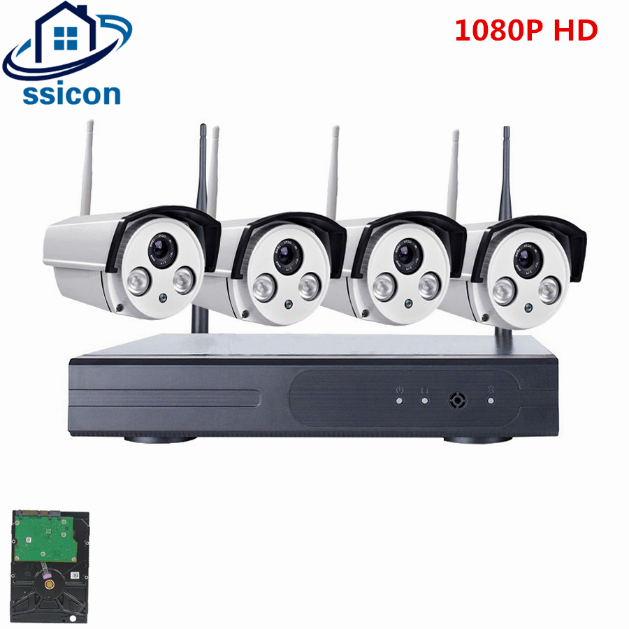SSICON 2.0MP 1080P 4CH Home WiFi CCTV Camera System Waterproof Bullet IP Security Camera System Night Vision Wireless NVR KitSSICON 2.0MP 1080P 4CH Home WiFi CCTV Camera System Waterproof Bullet IP Security Camera System Night Vision Wireless NVR Kit