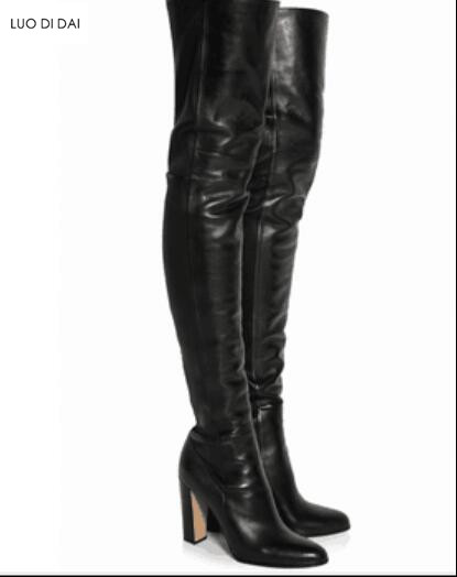 77a2e2f45f7 Celebrity Black Soft Leather chunky High Heels Over The Knee Boots Pointy  Long Boots 2018 Women Shoes Pointed Toe Women Boots