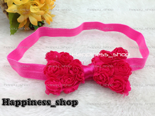 Hair Accessories 60set/lot Baby Toddler Infant Lace  Chiffon Rose Bowknot Chiffon Hair Bow Elastic FOE headbands