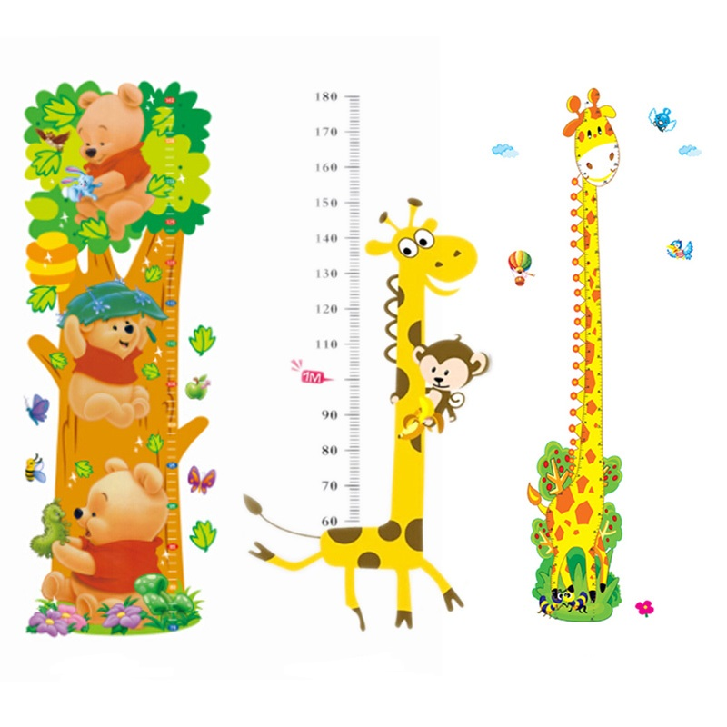 Monkeys Owls Birds Flower Height Decor Wall Stickers for