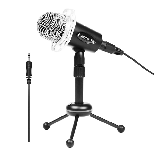 Professional 3.5mm AUX Plug Microphone Stereo Condenser Sound Podcast Online Chating Microphone PC With Holder OD#S