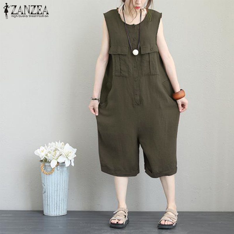 8dd221ee6546 2019 Women S Cotton Linen Jumpsuits Pants 2019 Summer ZANZEA Vintage ...