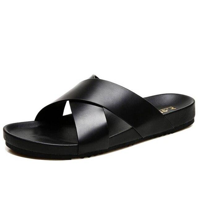 841e7e883c3 New Genuine Leather Men Slippers Sandals 2018 Fashion Summer Cross Strap Beach  Shoes Flats Slides Flip Flops Male Footwear