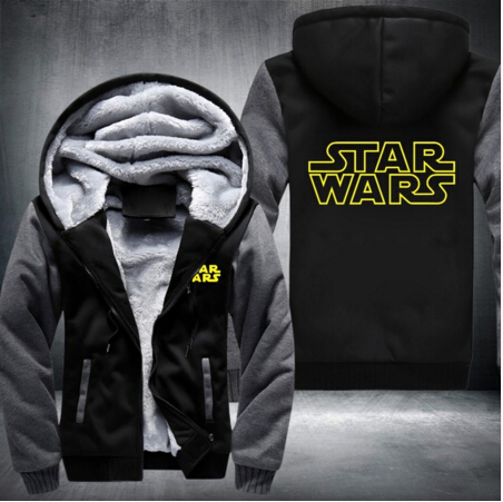 Unisex Cold Proof Thicken  Hoodie Jacket Sweatshirts Star Wars Cosplay Coat Zipper Fleece MEN WOMEN