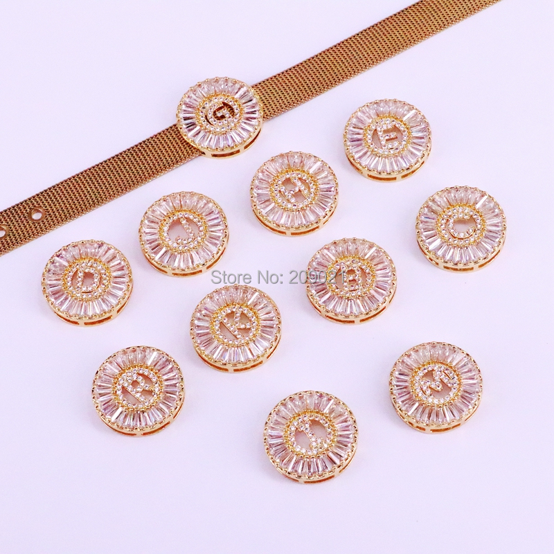 5Pcs Copper micro pave cz zircon 26 letter bracelets Chic circle charms stainless steel watch bracelet
