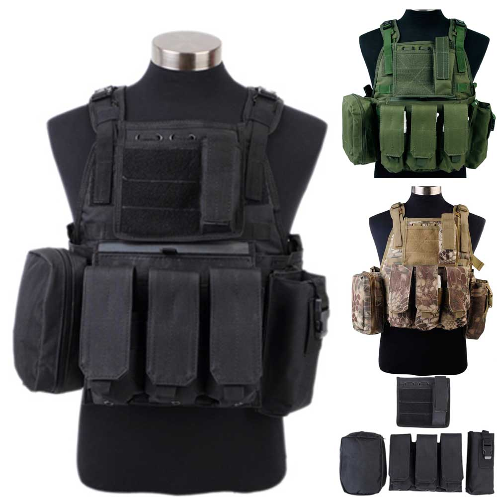 Tactical Vest CS Wargame Airsoft Paintball MOLLE System Combat Nylon Vest Tactical Vest With Triple Magazine Pouch Black/OD/Camo transformers tactical vest airsoft paintball vest body armor training cs field protection equipment tactical gear the housing