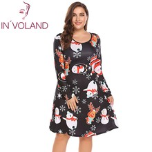 IN'VOLAND Large Size Women Dress 5XL Autumn Christmas Printing Long Sleeve Slim Fit A-Line Large Party Dresses Vestidos Oversize