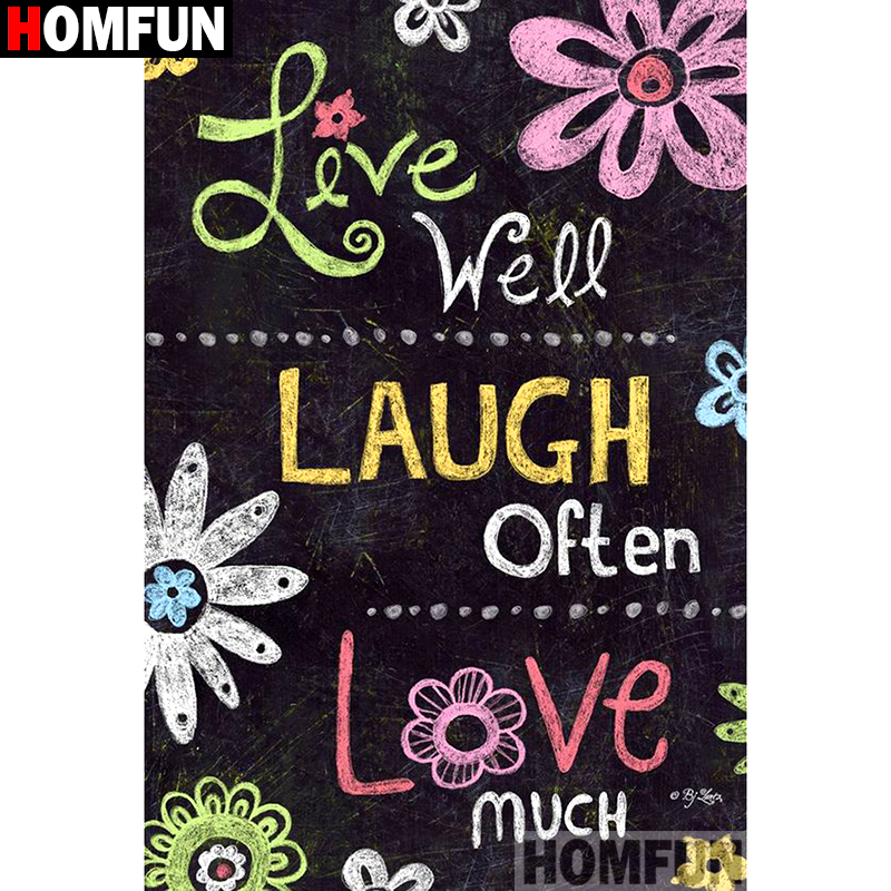"""HOMFUN Full Square/Round Drill 5D DIY Diamond Painting """"Cartoon text """" Embroidery Cross Stitch 3D Home Decor Gift A12657"""