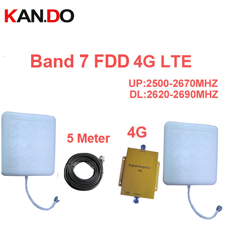 For Russia 4G Booster Band 7 LTE 4G Repeater W/ 5M Cable & Antenna LTE Booster FDD 4G Phone Booster 4G 2500-2570mhz 2620-2690mhz