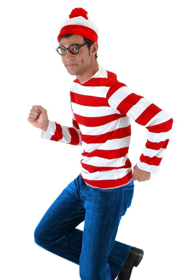 Mens Adults Book Week Red /& White Striped T-Shirt Hat Glasses Set Fancy Dress