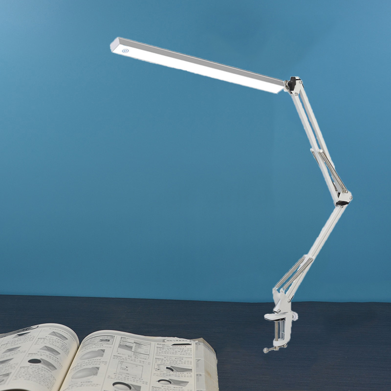 LED Architect Desk Lamp Adjustable Clamp Lamp Metal Swing Arm Task Lamp with 3 Level Brightness ,White