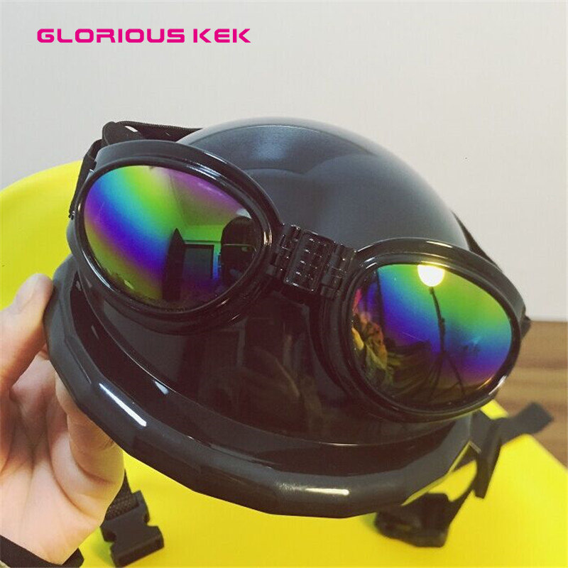 Glorious Kek Dog Helmets for Motorcycles with Sunglasses Cool ABS Fashion Pet Dog Hat Helmet Plastic Pet Protect Ridding Cap SML