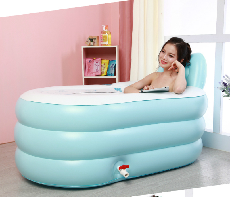 Plastic Folding Inflatable Bath Barrel Household Outdoor Adult Whole Body Leakproof Thicken Bathtub with Cover Portable Bathtub
