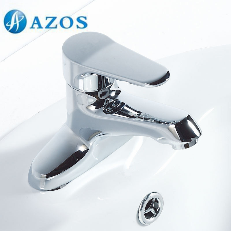 AZOS Bathroom Basin Tap 2 Holes Brass Chrome Polish Deck Mount Hot Cold Water Mixer Toilet Sink Faucet MPEK002 china sanitary ware chrome wall mount thermostatic water tap water saver thermostatic shower faucet