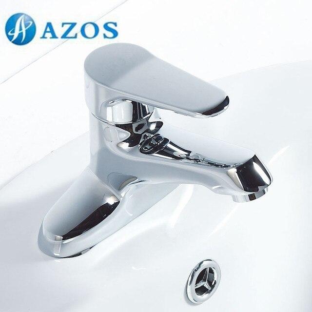 AZOS Bathroom Basin Tap 2 Holes Brass Chrome Polish Deck Mount Hot ...