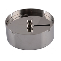 Round Practical Smoking Accessories Stainless Steel Ashtray Lid Rotation Fully Enclosed Ashtray with Spinning Tray for Smokers