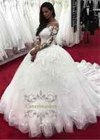 Dream Wedding Dress Ball Gown Puffy Skirt Long Illusion Sleeves with Lace Appliques Bride Gown Scoop Neck with Cathedral Train