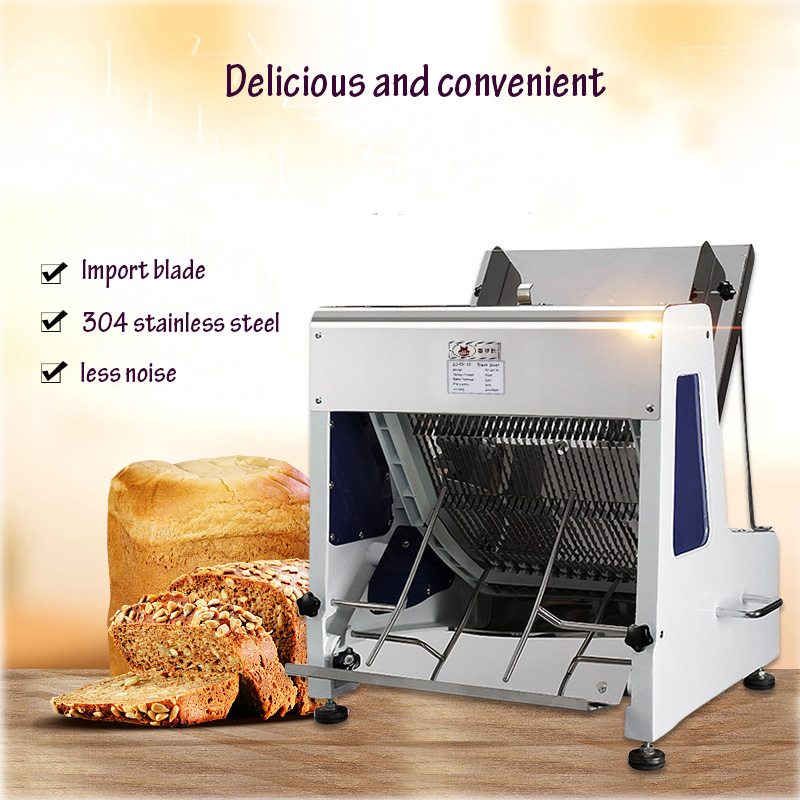 250W Electric Bread Slicer Commercial Bread Cutter 31 Slices Loaf Toast Cutter Stainless Steel Bread Processing Machine bread toast crumbs