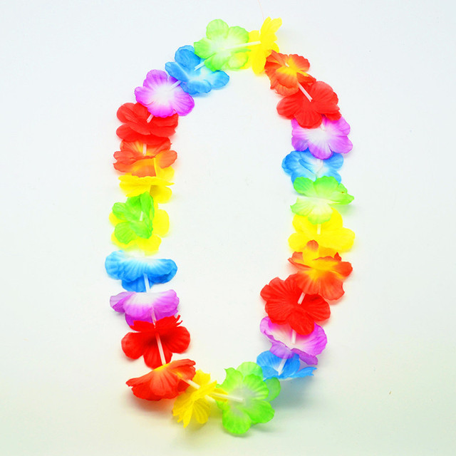 leis lei necklace party theme pcs flower pa for beach garland hawaiian silk moana supplies