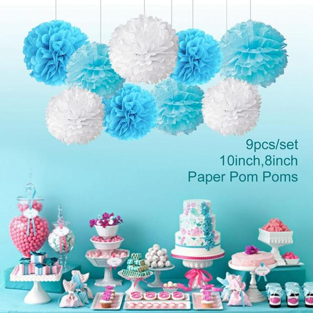 FENGRISE 1st Blue Theme Party Decoration Pompom Ball Happy Birthday Balloons Baby Boy First Decor Supplies