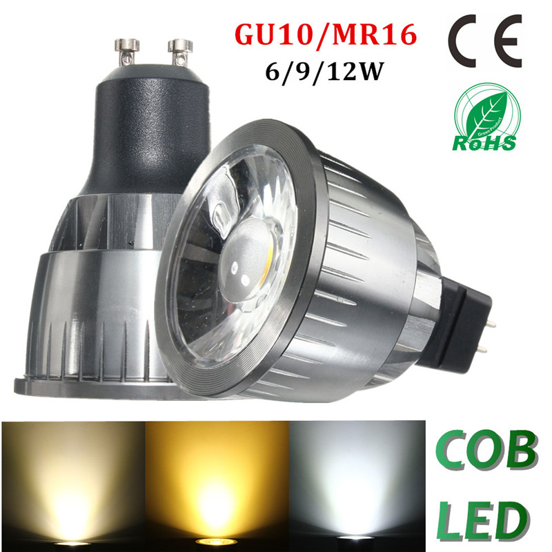 Smuxi Dimmable GU10 LED COB Spotlight Ultra Bright 9w 12w Spot Light Bulb High Power Lamp 110V/220V dimmable led cob ceiling light 3w free shipping china post with track led lamp bulb led spotlight 110v 220v aluminum body