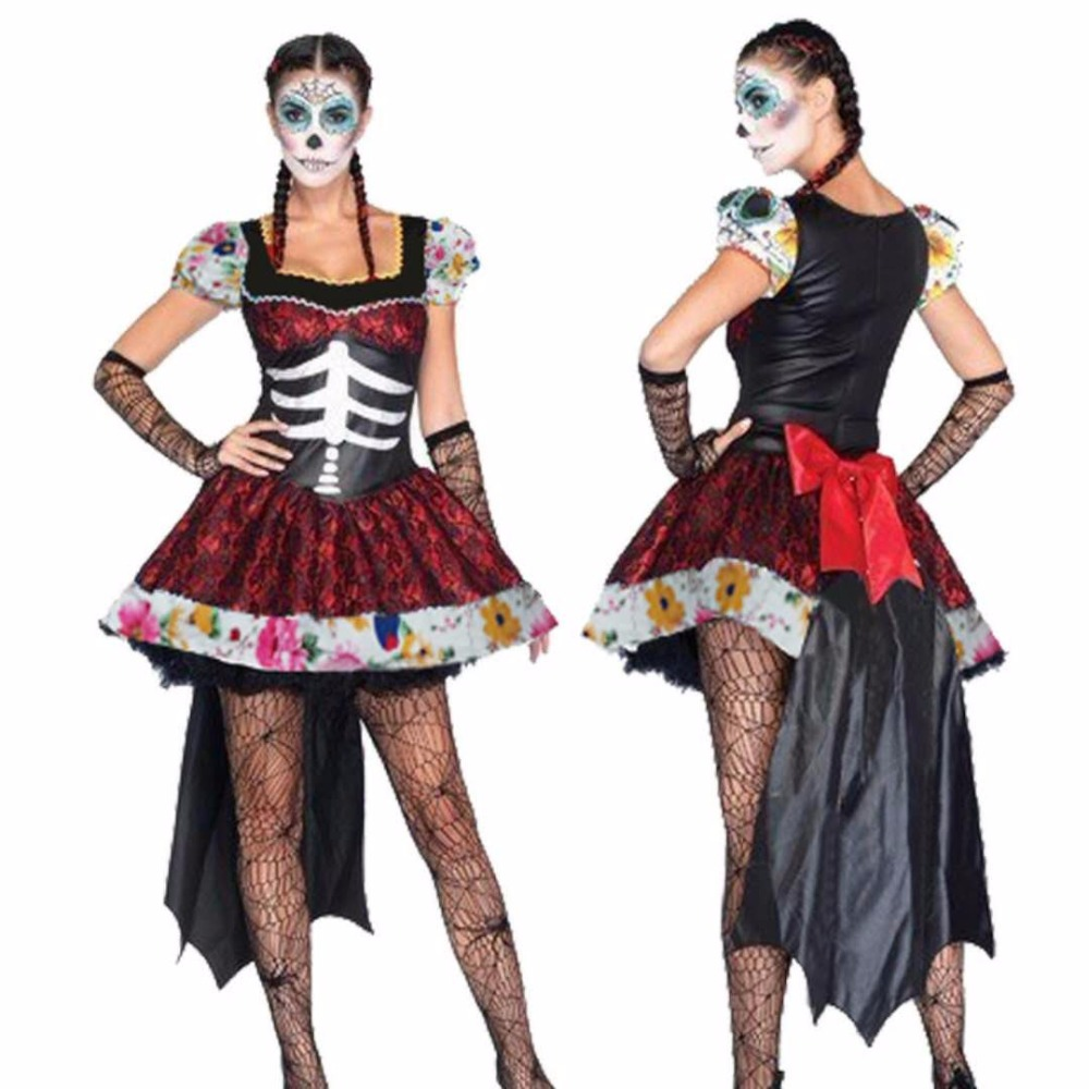 High Quality Masquerade Adult Female Cosplay Costume Halloween Scary Skeleton Dresses Vampire Ghosts Bride Witch plays costume